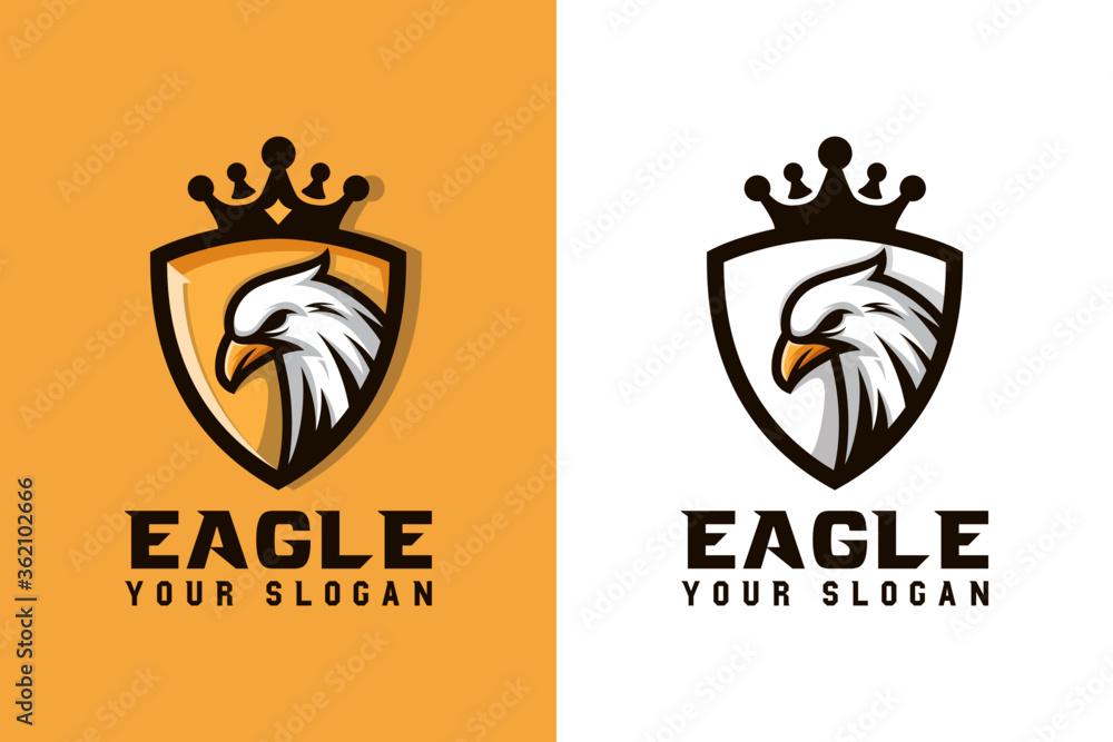 Fototapeta eagle king with shield sport or animal logo design vector template