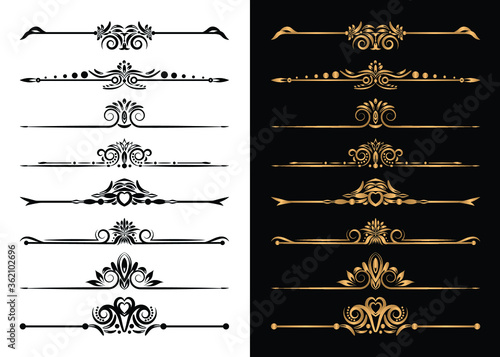 Fototapeta Luxury Ornamental Elements and Decorative Divider Set  Vector Illustration obraz