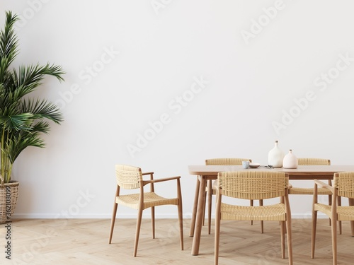 Dining room wall mock up with Areca palm, rattan dining set, wooden table on wooden floor Slika na platnu