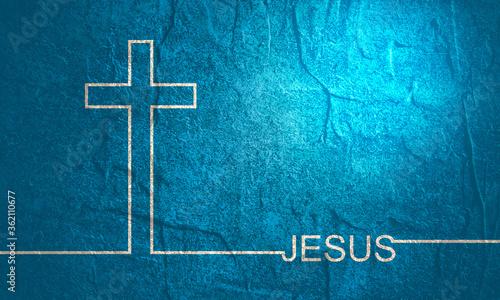 Fotografie, Tablou Christianity concept illustration. Cross and Jesus word