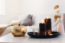 Home Decor With Golden Pumpkin...