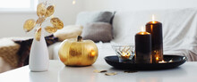 Home Decor With Golden Pumpkin...