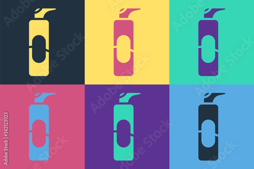 Photo Pop art Spray can for hairspray, deodorant, antiperspirant icon isolated on color background