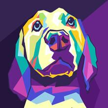 Dog Animal Style Pop Art Portr...
