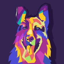 Dog Pop Art Portrait Vector Il...