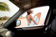 Sexy Female Surfer Looking Thr...