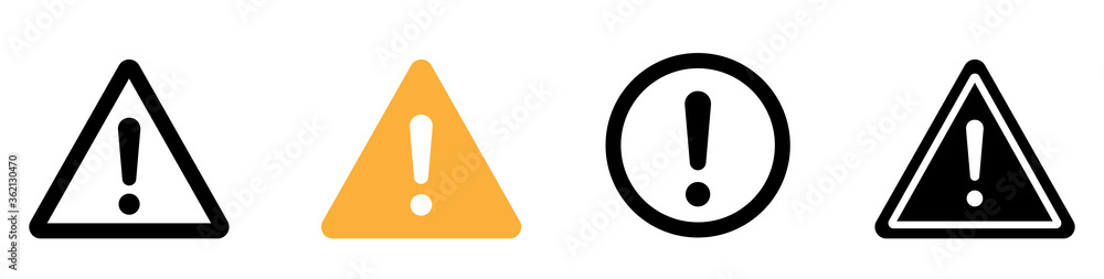 Fototapeta Caution warning signs. Exclamation danger sign. Warnings, attention sumbol. Triangle warning flat style - stock vector.