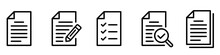 Paper Documents Icons. Line Sumbol. File Icon. Folded Written Paper. Line Icon - Stock Vector.
