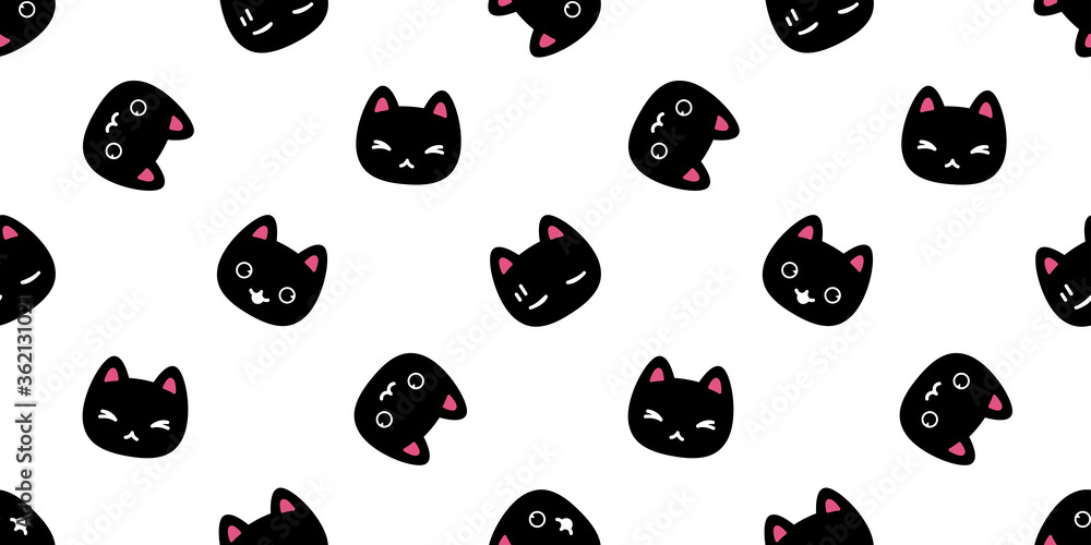 Fototapeta cat seamless pattern kitten vector breed calico pet scarf isolated repeat background cartoon animal tile wallpaper wraping paper illustration doodle design