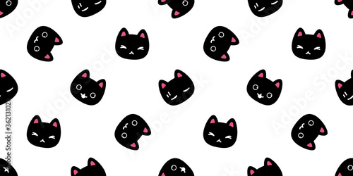 Fototapeta cat seamless pattern kitten vector breed calico pet scarf isolated repeat background cartoon animal tile wallpaper wraping paper illustration doodle design obraz
