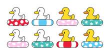 Duck Vector Icon Logo Rubber Duck Swimming Ring Pool Ocean Beach Bird Farm Cartoon Character Illustration Animal Symbol Doodle Design