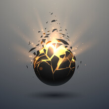 Black And Gold Sphere With Glow Effect