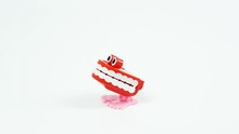 Chattering Teeth Toy Stops In The Middle, White Background