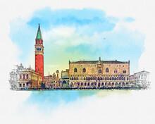 San Giorgio Island, Venice, Italy. Quick Sketch By Hand.