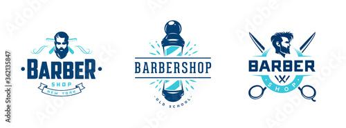 Set of vintage barber shop badges and emblems isolated on white Slika na platnu