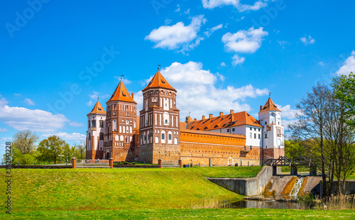 Grand view to Castle of Mir, Minsk Region, Belarus.  #362141228
