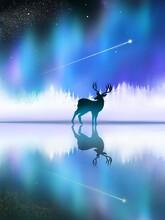 Under Auroral Sky, Silhouette Of Deer Reflected On Water