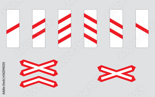 Photo Level crossing traffic signs set
