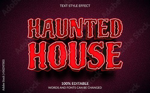 Editable Text Effect, Haunted House, Horror Text Style Fototapeta