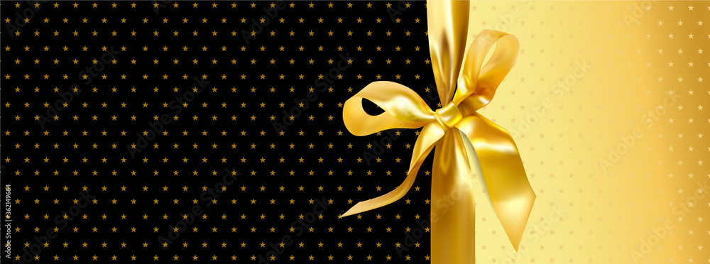 Fototapeta Gift certificate, Gift card or Discount coupon with Gold big bow (ribbon) on black and golden background with stars. Blank holiday template useful for any promotion design, shopping sale