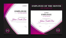 Employee Of The Month Award Template   Employee Certificate Template Design With 2 Variation   Colorful Award Template