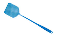 Blue Flyswatter Isolated On Wh...