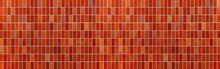 Panorama Of Red Glazed Ceramic Brick Wall Texture And Seamless Background