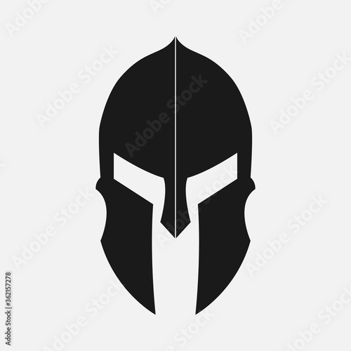 black spartan helmet icon and logo on white background, vector and illustration Fototapeta