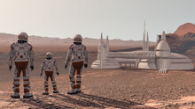 Family Colonists Immigrants To Mars, A Man, A Woman And A Child Admire The Martian Landscape, The City And Spaceship. Exploring Mission To Mars. Elements Of This Video Furnished By NASA. 3d Rendering