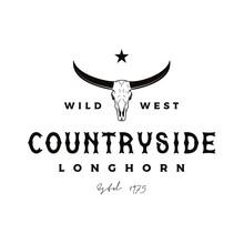 Vintage Retro Texas Longhorn Buffalo Bull Cow Cattle For Western Farm Ranch Country Logo Design