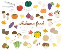 秋の味覚の手書きのイラストのセット/食欲の秋/シンプル/おしゃれ