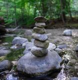 Fototapeta Kamienie - Rock Cairn in Big Sur River