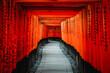 canvas print picture - Japanese temple torii gates in Kyoto, Japan. (Fushimi Inari).