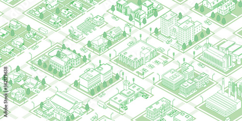 Slika na platnu Illustration of a green town with isometric vector data