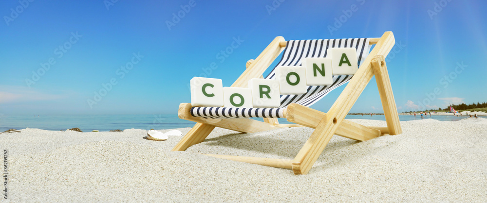 Fototapeta Urlaub am Meer, Sonnenliege - Corona