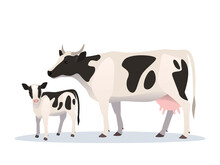 Vector Illustration Of Cow And Calf. Farm Animals, Domestic Cattle Adult And Young.