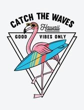 Surfer Flamingo Vector Illustr...