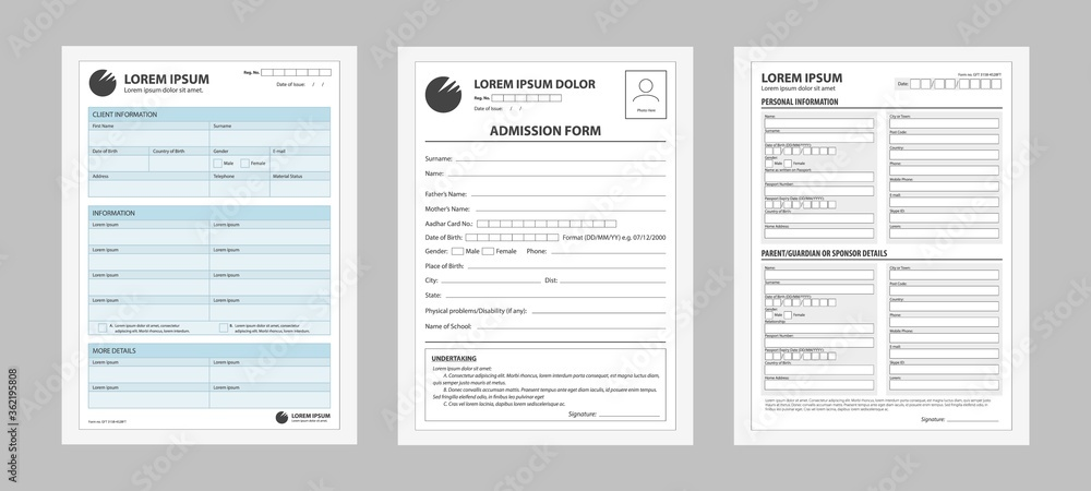 Fototapeta Application form set. Prepared forms for registering filling personal data business contract for entering work documentation traveling abroad information about studies credit vector and loan paper.
