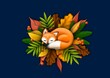 Lis na liściach-jesiennie