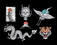Set Of Asian Theme Vector Illustrations: Temple, Dragon, Crane Bird, Mountain Fuji And Dragon.