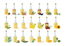 Glass Bottles With Oil Set. St...