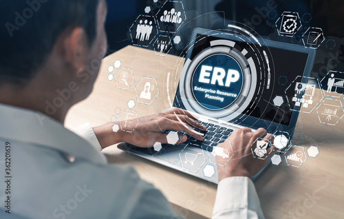 Fotografie, Obraz Enterprise Resource Management ERP software system for business resources plan presented in modern graphic interface showing future technology to manage company enterprise resource