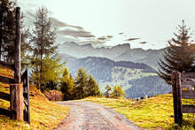 Oil Painting Of Alpine Mountai...