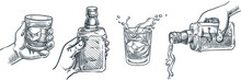 Human Hand Holding Whiskey Glass. Scotch Whisky Or Brandy Pouring Out Of Bottle. Vector Hand Drawn Sketch Illustration.