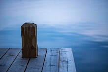 Mooring Post On A Wooden Jetty...