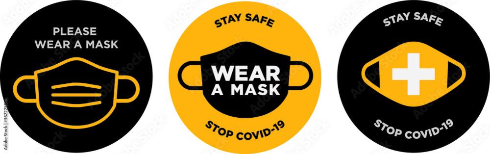 Fototapeta Please wear mask icon vector signage