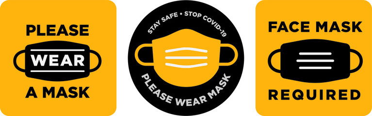 Please wear mask icon vector signage