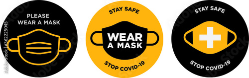 Please wear mask icon vector signage Canvas-taulu