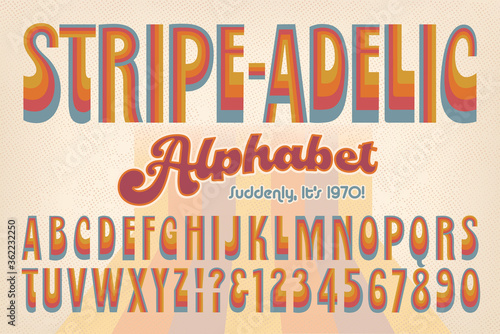 Stripe-adelic is an early 1970s-style retro alphabet; This Font is Rendered in M Canvas Print