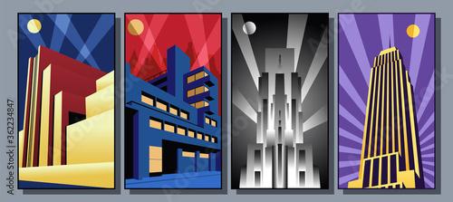 Art Deco Style Buildings, Skyscraper Posters 1920s Style Architecture Canvas Print